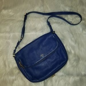 Fossil Royal Blue Leather Crossbody Bag